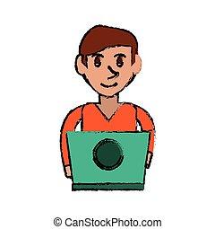 cartoon young man working green laptop design