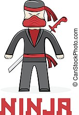 cartoon young ninja vector illustration