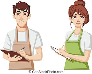 Cartoon young people wearing apron.