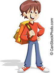 Cartoon young student boy