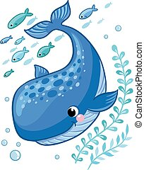 Cartoon young whale surrounded by small sea fish.