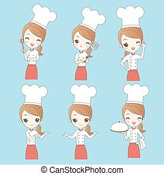 Cartoon young woman chef,great for your design