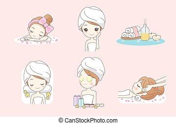 Cartoon young woman enjoy spa