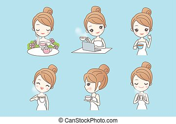 Cartoon young woman enjoy tea - Cartoon happy young woman...