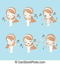 Cartoon young woman listen music