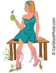 Cartoon young woman sitting on the bench with apple in her hand