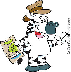 Cartoon zebra pointing