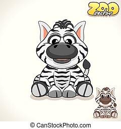 Cartoon Zebra. Vector Character