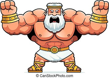 Cartoon Zeus Angry - A cartoon illustration of Zeus looking...