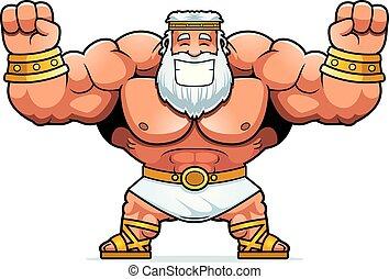 Cartoon Zeus Celebrating - A cartoon illustration of Zeus...