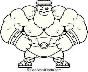 Cartoon Zeus Confident - A cartoon illustration of Zeus...