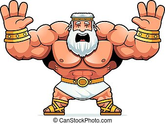 Cartoon Zeus Scared - A cartoon illustration of Zeus looking...