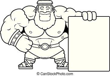 Cartoon Zeus Sign - A cartoon illustration of Zeus with a...