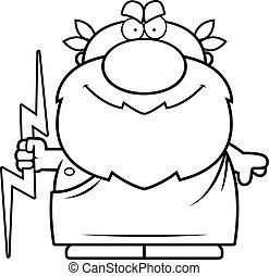 Cartoon Zeus Thunderbolt - A cartoon illustration of Zeus...