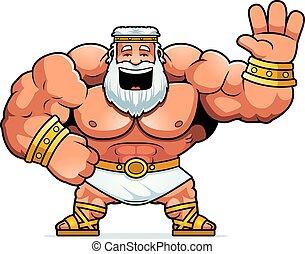 Cartoon Zeus Waving - A cartoon illustration of Zeus waving.