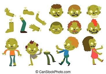 Cartoon zombie characters - Colorful zombie scary cartoon ...