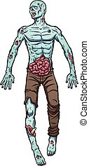 Cartoon zombie laying on the ground. Vector clip art...