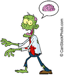 Cartoon Zombie Walking With Hands In Front And Speech Bubble...