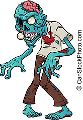 Cartoon zombie. Vector clip art illustration with simple...
