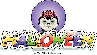 Cartoon Zombie Halloween Graphic