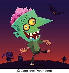 Cartoon Zombie. Halloween vector illustration
