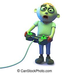 Cartoon zombie monster is playing a scarey videogame, 3d illustration render
