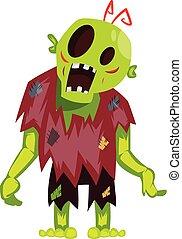 Cartoon zombie on white background vector illustration.
