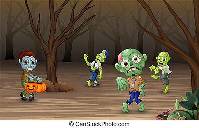 Cartoon zombie walking in the forest
