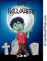 Cartoon zombie with halloween background