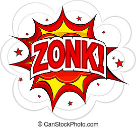 Cartoon ZONK! on a white background. Vector illustration.