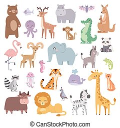 Cartoon zoo animals big set wildlife mammal flat vector illustration.