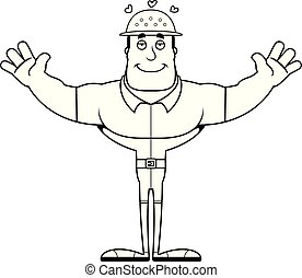 Cartoon Zookeeper Hug - A cartoon zookeeper ready to give a...