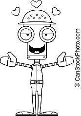 Cartoon Zookeeper Robot Hug - A cartoon zookeeper robot...