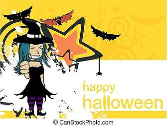 cartoon5, sorcière, fond, joli, halloween, kawaii