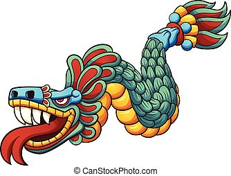 cartoon_quetzalcoatl.eps - Cartoon Quetzalcoatl. Vector clip...