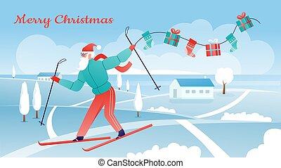 cartoonactive, nevoso, uso, tracksuit, paisaje, santa, navidad, alegre, esquí, deporte invierno, claus