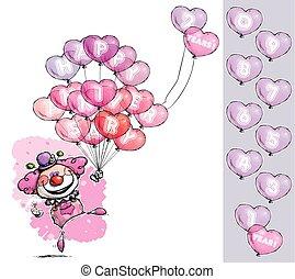 "cartoon/artistic, εικόνα , από , ένα , γελωτοποιός , με , καρδιά , μπαλόνι , ρητό , αίσιος επέτειος , - , κορίτσι , colors., nubmer, balloon, έχει , ""1"", να , ""0"", αναμμένοσ βάζω , επάνω , ένα , υπέδειξα , group."