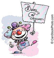 Clown Holding a Baby Shower Placard