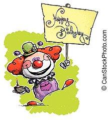 Clown Holding a Happy Birthday Placard