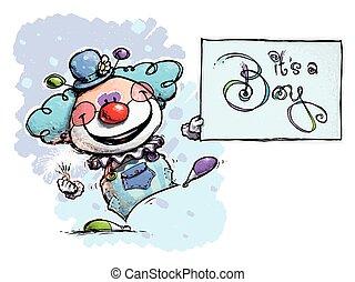 Clown Holding an It's a Boy Card - Cartoon/Artistic...