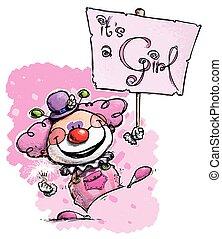 Clown Holding an It's a Girl Placard
