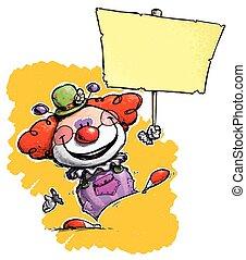 Clown Holding Placard