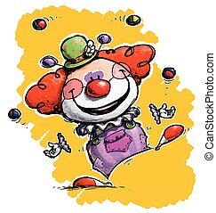 Clown Juggling - Cartoon/Artistic illustration of a Clown...
