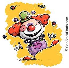 Clown Juggling - Cartoon/Artistic illustration of a Clown ...