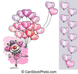 "Cartoon/Artistic illustration of a Clown with Heart Balloons Saying Happy Anniversary - Girl Colors. Nubmer balloon has ""1"" to ""0"" in place on an indicated group."