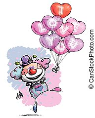 Clown with Heart Balloons Saying I Love You