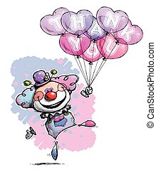 Clown with Heart Balloons Saying Thank You