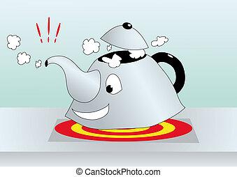 cartoone illustration of boiling kettle