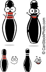 Cartooned black bowling pins