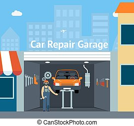 Cartooned Car Repair Garage with Signage Graphic Design with...